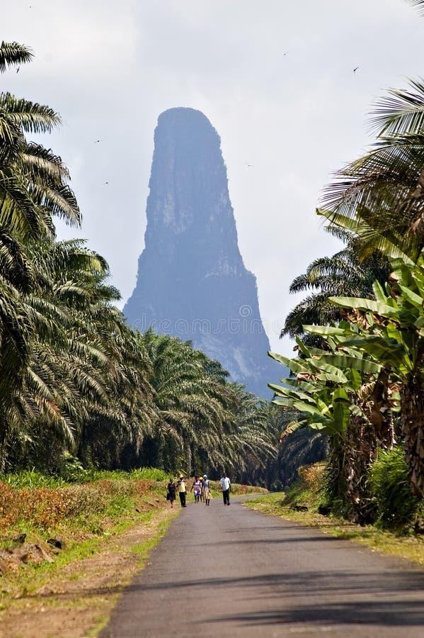 Vulkanische piek van Sao Tomé stock fotografie