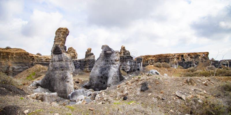 Vulkanische standbeelden op Lanzarote, stock fotografie