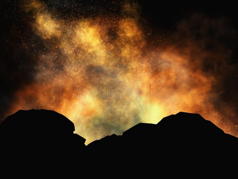 Vulkanische uitbarsting royalty-vrije illustratie