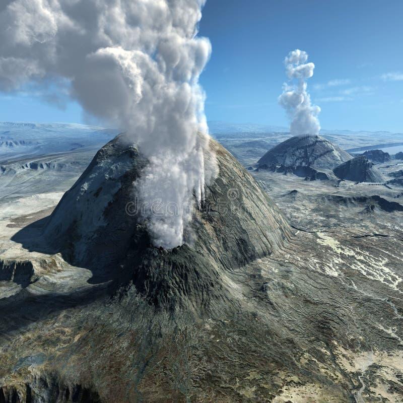 Vulkanische uitbarstingen royalty-vrije illustratie