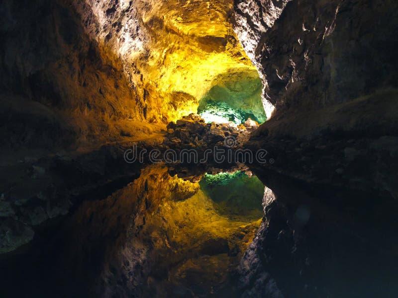 Vulkanischer Tunnel Insel Lanzarote Cavern Cuevas de Los Verdes stockfotos