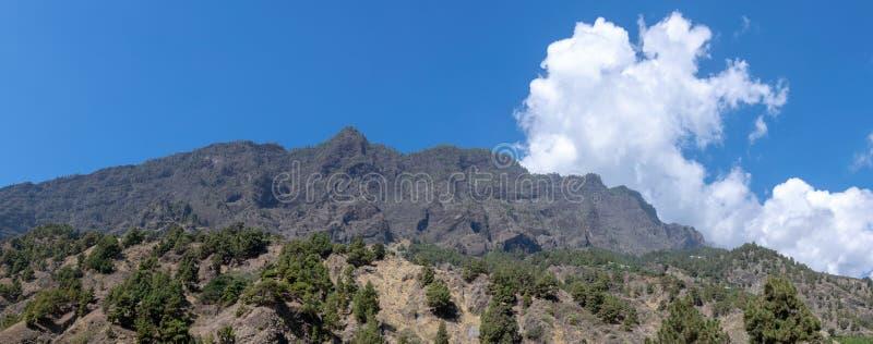 Vulkanisches panaromic bei Barranco de Las Augustias, La Palma, Kanarische Inseln, Spanien stockbild