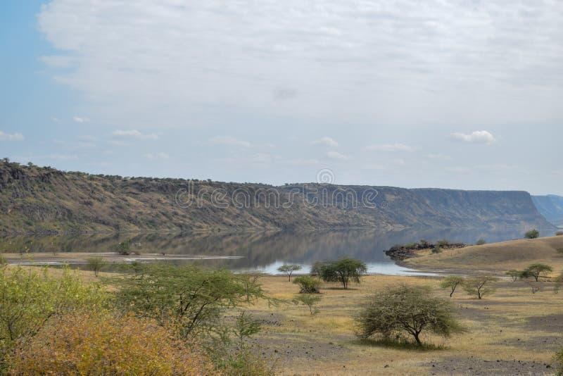 Vulkaniska landskap på sjön Magadi, Kenya arkivfoton