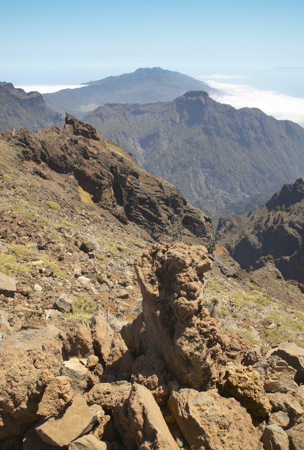 Vulkaniskt landskap i La Palma caldera de taburiente spain arkivbild