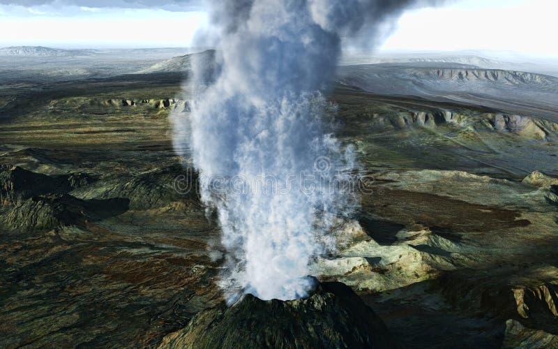 vulkaniskt utbrott stock illustrationer