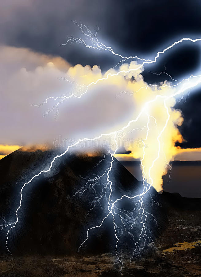 Vulkaniskt utbrott vektor illustrationer