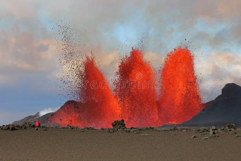 vulkaniskt utbrott royaltyfria bilder