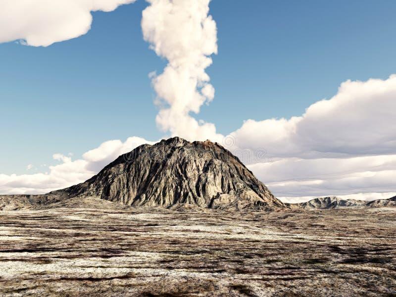 vulkaniskt utbrott royaltyfri illustrationer