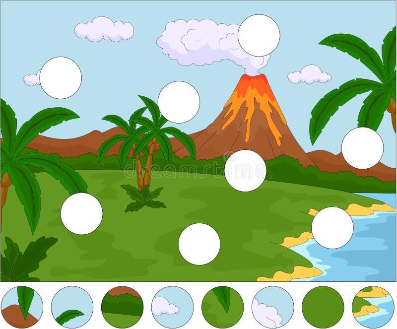 vulkaniskt utbrott Avsluta pusslet och finna den saknade delen stock illustrationer