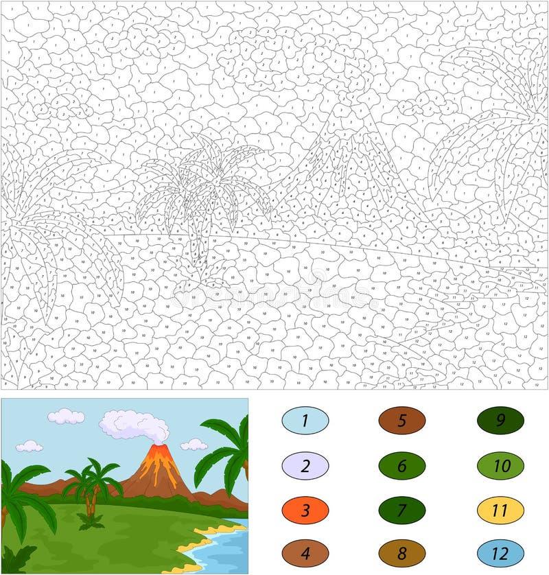 vulkaniskt utbrott Färg vid den bildande leken för nummer för ungar royaltyfri illustrationer