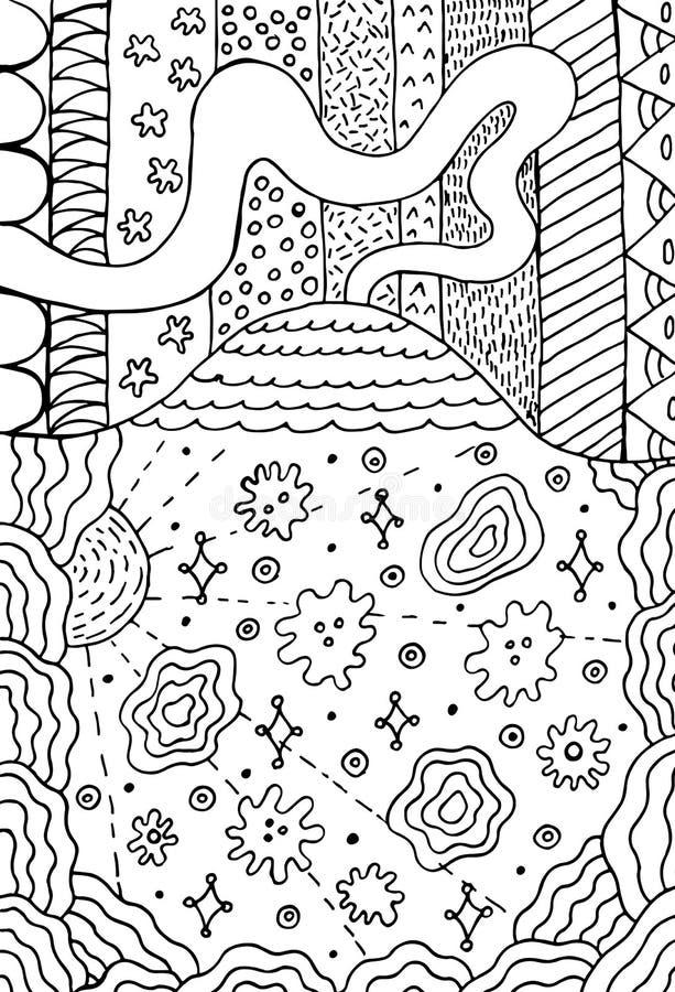 Vulkanklotterlandskap med den blom- ängen Bergteckning Hand dragen f?rgl?ggningsida ocks? vektor f?r coreldrawillustration royaltyfri illustrationer