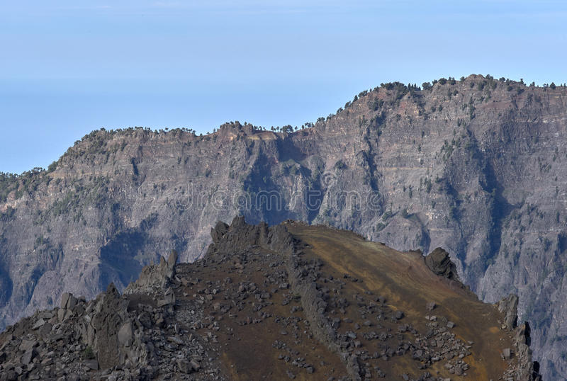 Vulkankrater Caldera de Taburiente, La Palma royaltyfri fotografi