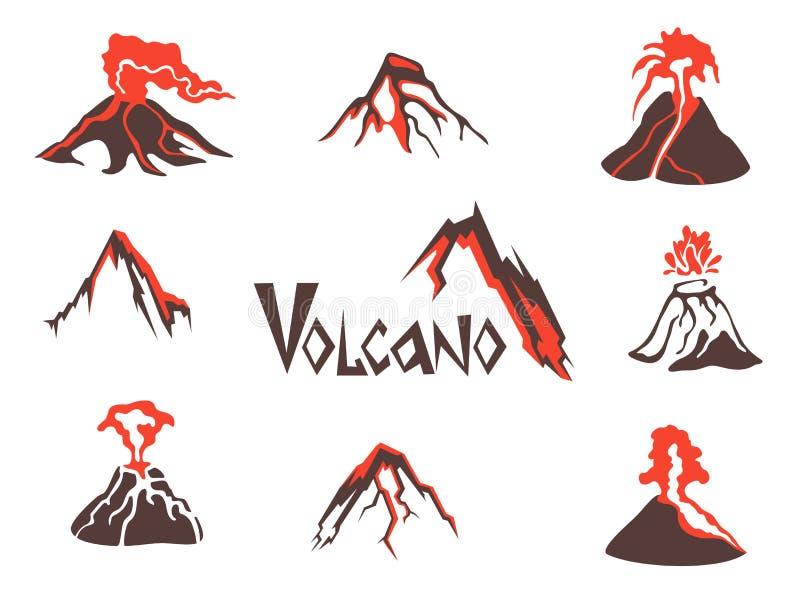 Vulkanlogouppsättning vulkaniskt utbrott Vektorillustration som isoleras på white stock illustrationer