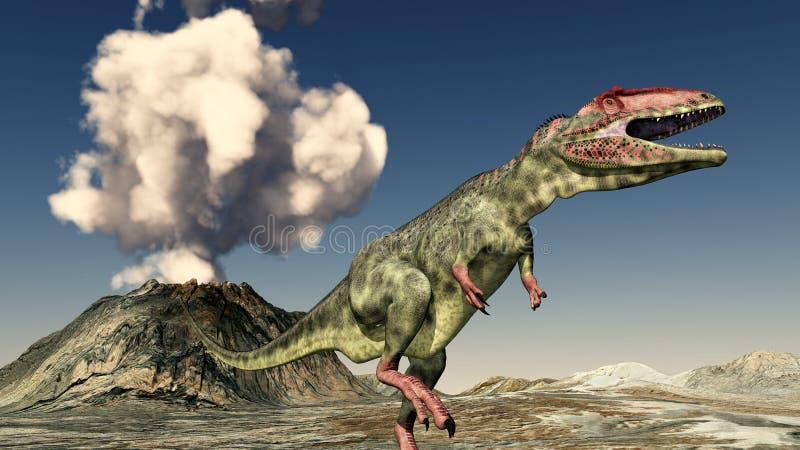 Vulkanutbrott och dinosauriegiganotosaurusen stock illustrationer