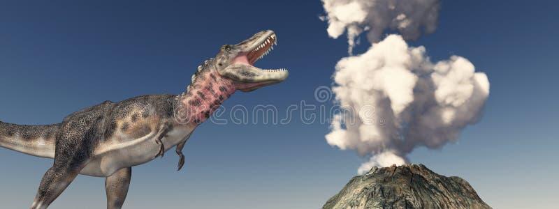 Vulkanutbrott och dinosaurien Tarbosaurus vektor illustrationer