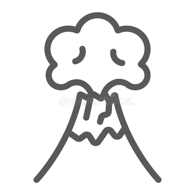 Vulkanutbrottlinje symbol, katastrof och explosion, vulkan som får utbrott tecknet, vektordiagram, en linjär modell på ett vitt royaltyfri illustrationer