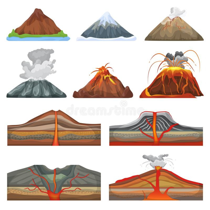 Vulkanvektoreruption und Vulkanismus- oder Explosionserderschütterung vulkanisch im Gebirgsillustrationssatz von vektor abbildung