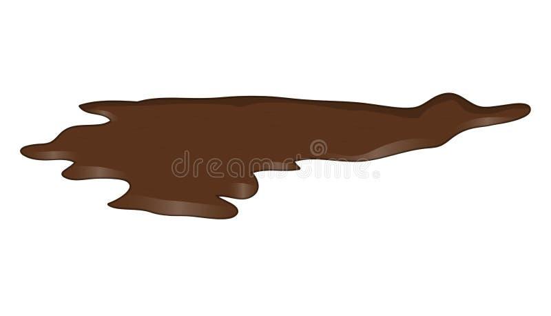 Vulklei van chocolade, moddermorserij clipart Bruine vlek, plash, daling royalty-vrije illustratie