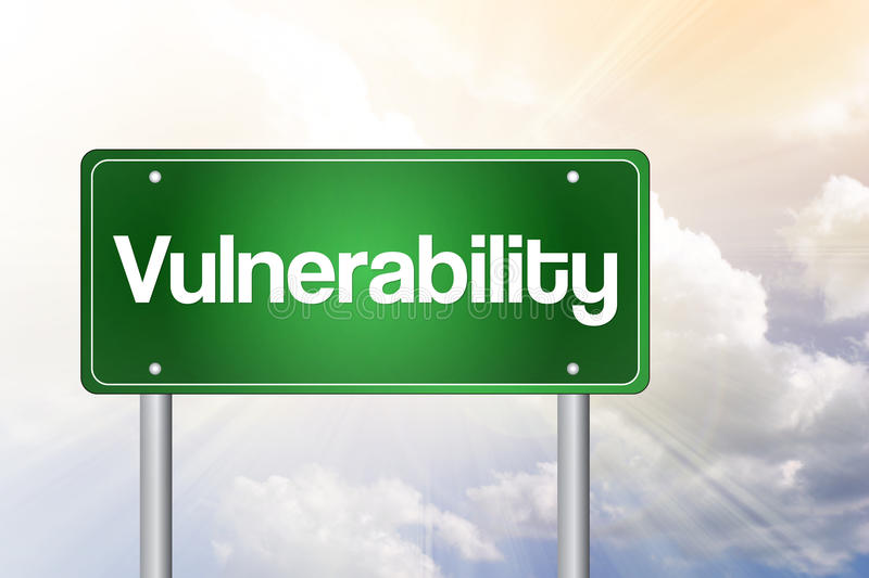 Vulnerability Just Ahead Green Road Sign royalty free illustration