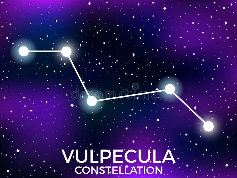 Vulpecula constellation. Starry night sky. Cluster of stars and galaxies. Deep space. Vector. Illustration vector illustration