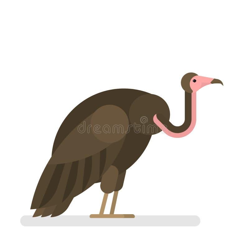 vulture P?ssaro selvagem com pena e o bico marrons ilustração do vetor