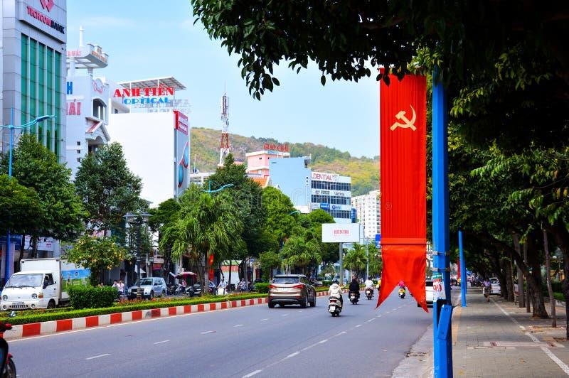 Vungtau, Vietnam - Januari 29, 2018: Op de straat van de stad van Vung-Tau royalty-vrije stock afbeeldingen