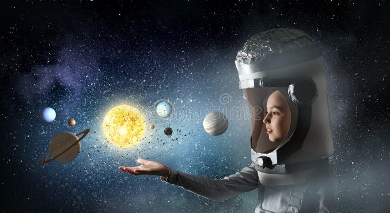 Vuole diventare astronauta Media misti fotografia stock libera da diritti
