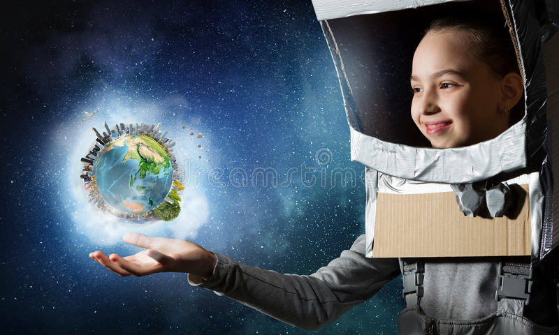 Vuole diventare astronauta Media misti immagini stock libere da diritti