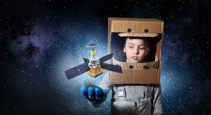 Vuole diventare astronauta Media misti fotografie stock libere da diritti