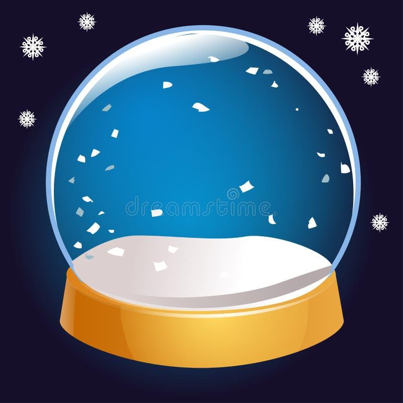 Vuoto del globo della neve isolato su fondo nero Palla di magia di Natale Illustrazione di Snowglobe Inverno in palla di vetro, c illustrazione vettoriale