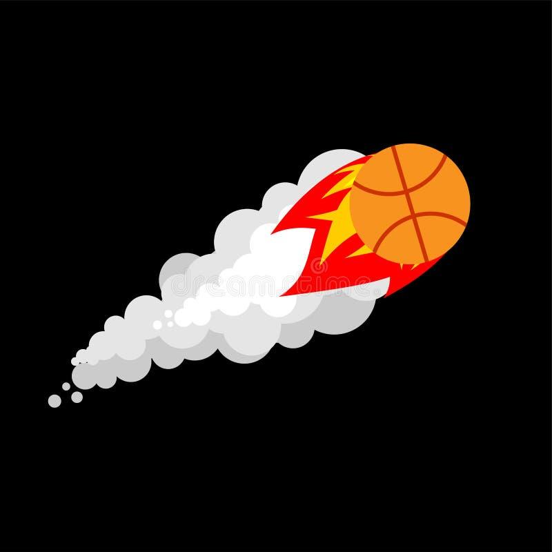 Vurig geïsoleerd Basketbal Het vliegen vectorillustratio van de gokkenbal vector illustratie