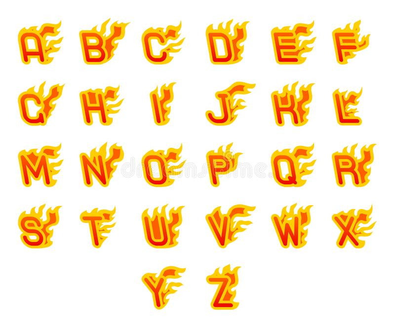 Vurige a aan z-brieven die abc van de het alfabetdoopvont van de brandvlam hete het ontwerp vectorillustratie branden royalty-vrije illustratie