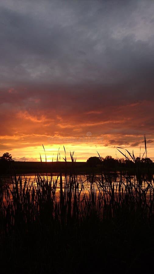Vurige zonsondergang royalty-vrije stock afbeelding