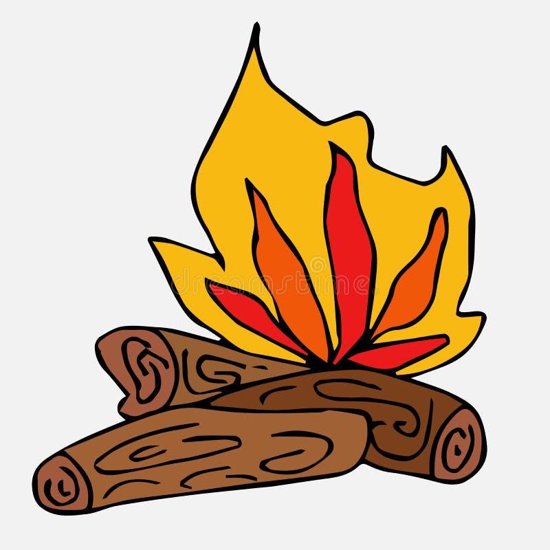 Vuur, brandend brandhout Een inzameling van met de hand getrokken elementen Isoleer op wit vector illustratie