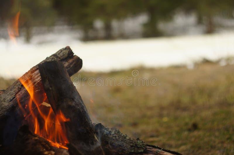 Vuur door de rivier stock fotografie