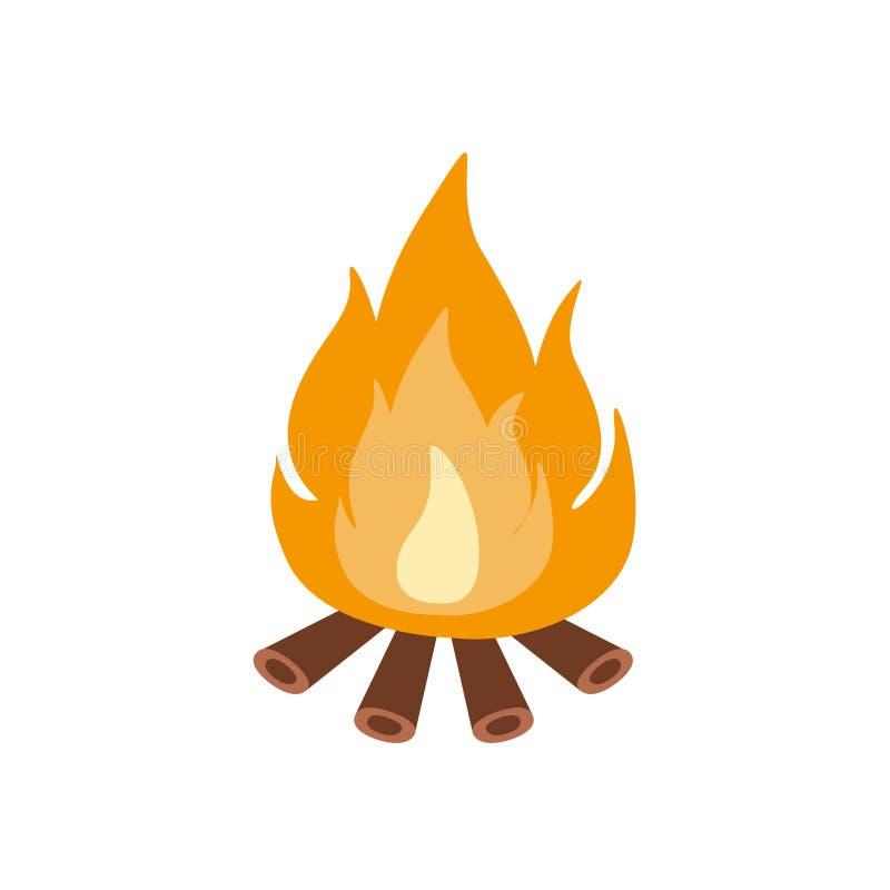 Vuur het Branden op Brandhout in de Kamp, het Kamperen en Wandelings Openluchttoerisme Verwante Punt Geïsoleerde Vectorillustrati stock illustratie