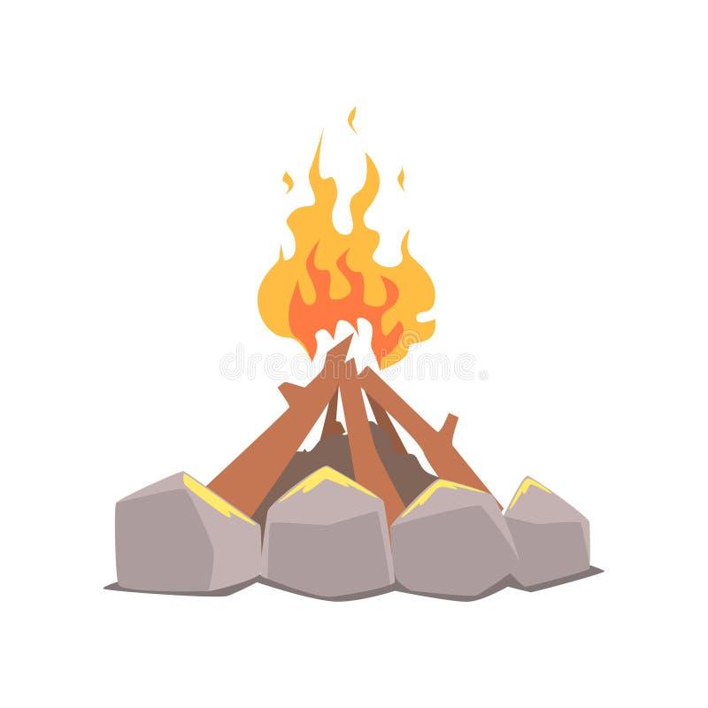 Vuur, het kamperen brand door de vectorillustratie die van het stenenbeeldverhaal wordt omringd royalty-vrije illustratie