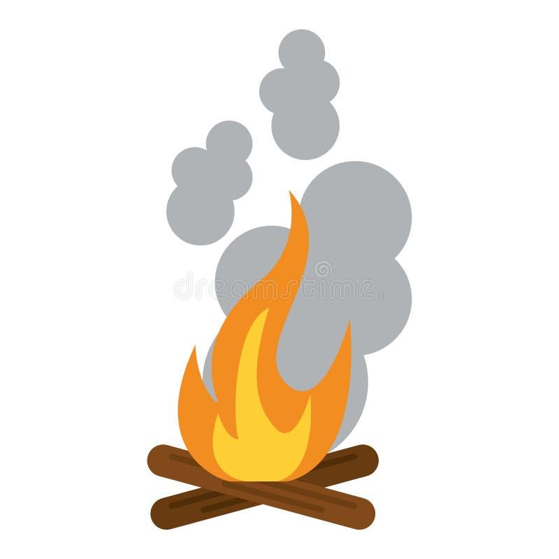 Vuur met boomstammen en rook royalty-vrije illustratie