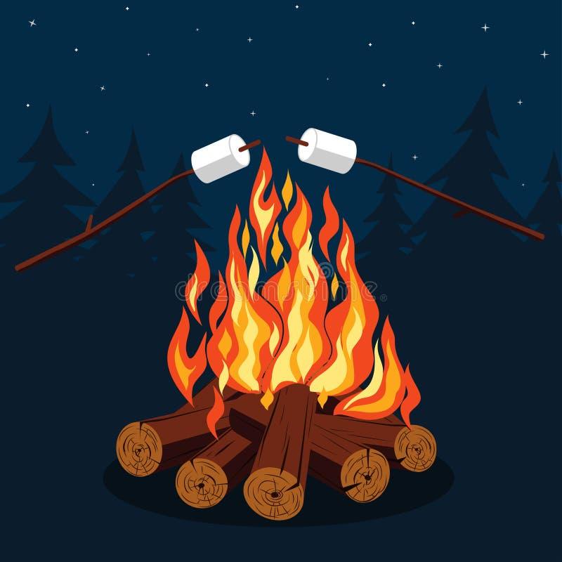 Vuur met heemst vector illustratie