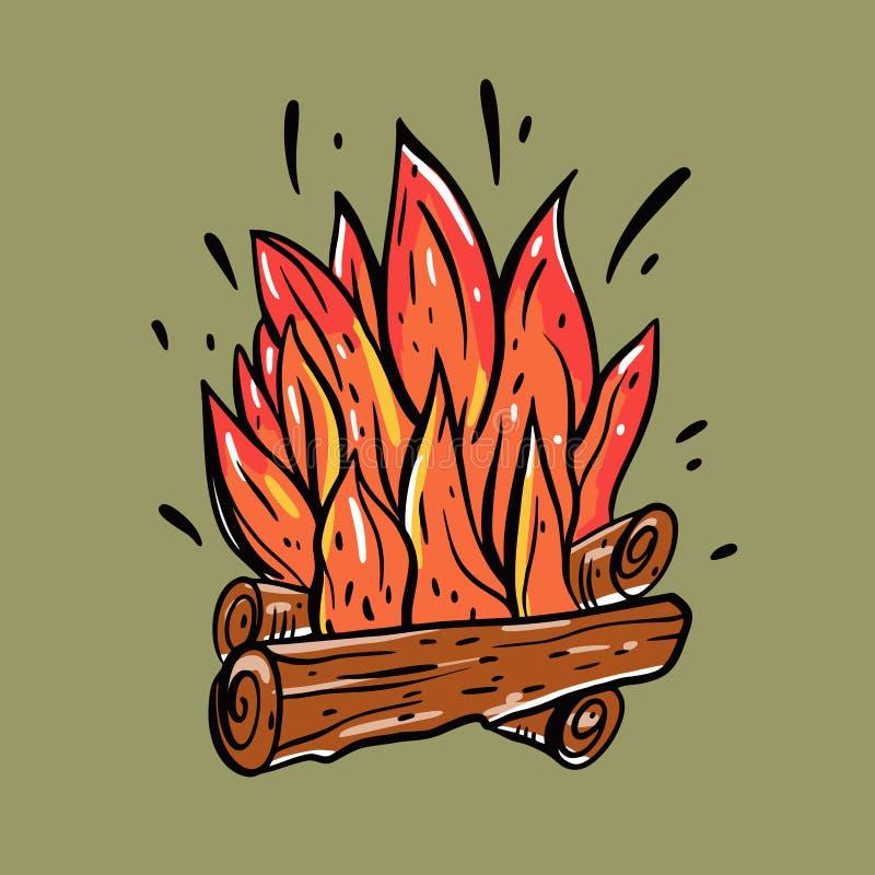 Vuur met hout Brandhout en kampvuurhand getrokken illustratie Ge?soleerd op grijze achtergrond vector illustratie