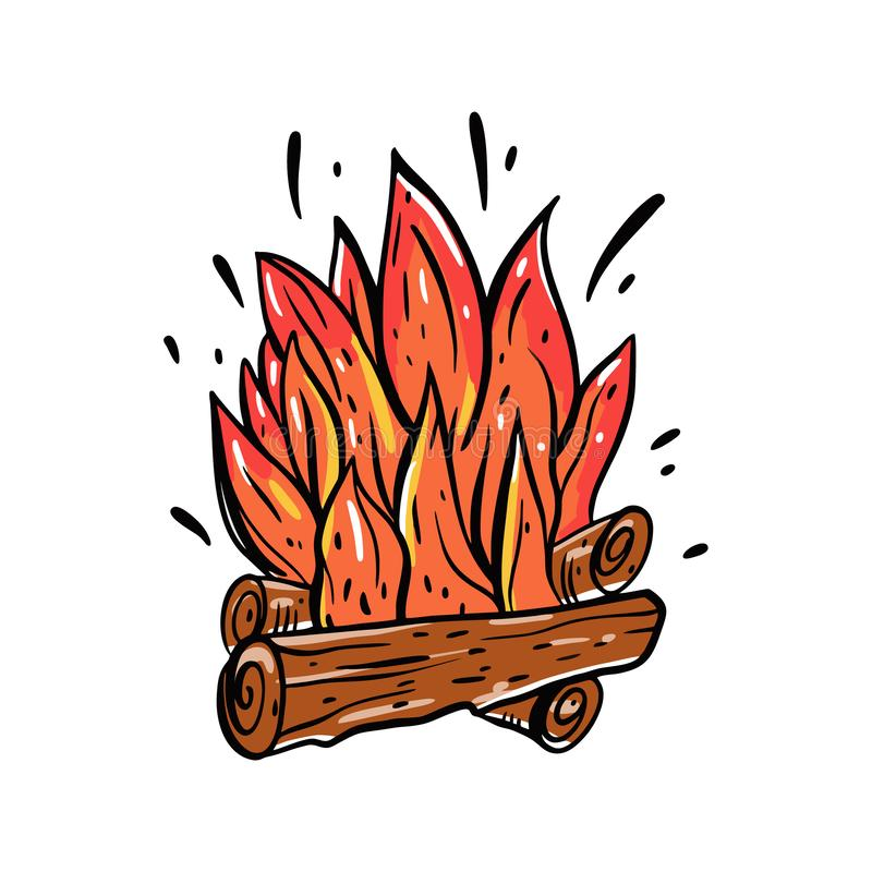 Vuur met hout Brandhout en kampvuurhand getrokken illustratie Ge?soleerdj op witte achtergrond stock illustratie