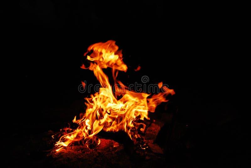 Vuur op de kust royalty-vrije stock afbeelding