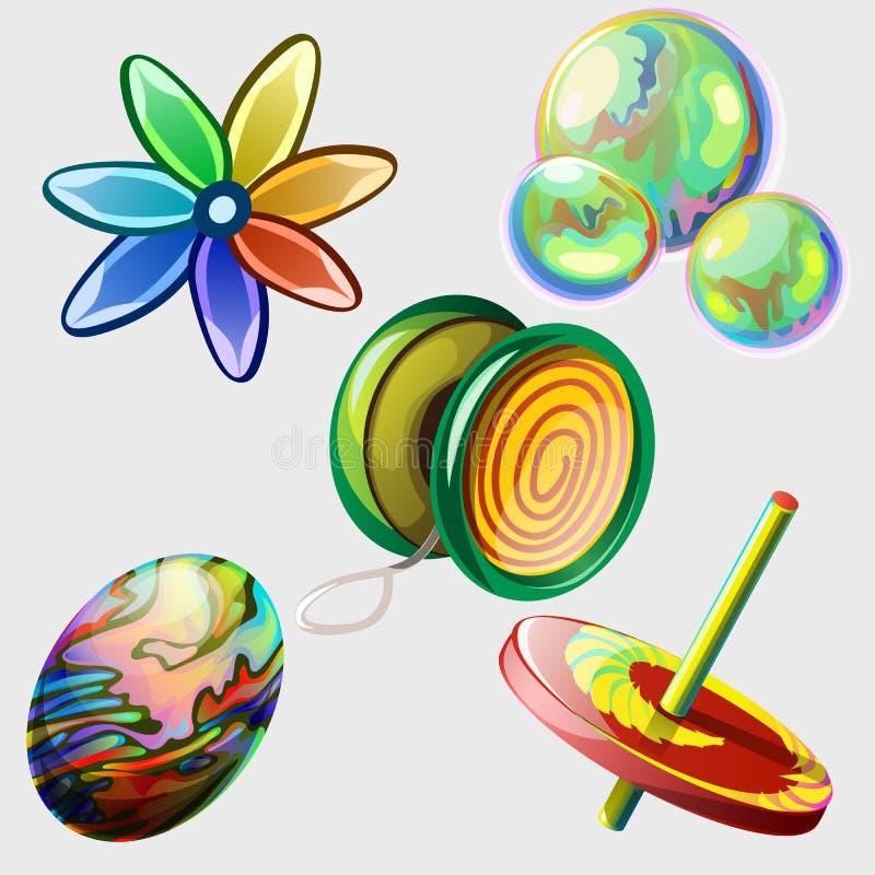Vuurrad, bellen, bal en ander speelgoed Vijf punten vector illustratie