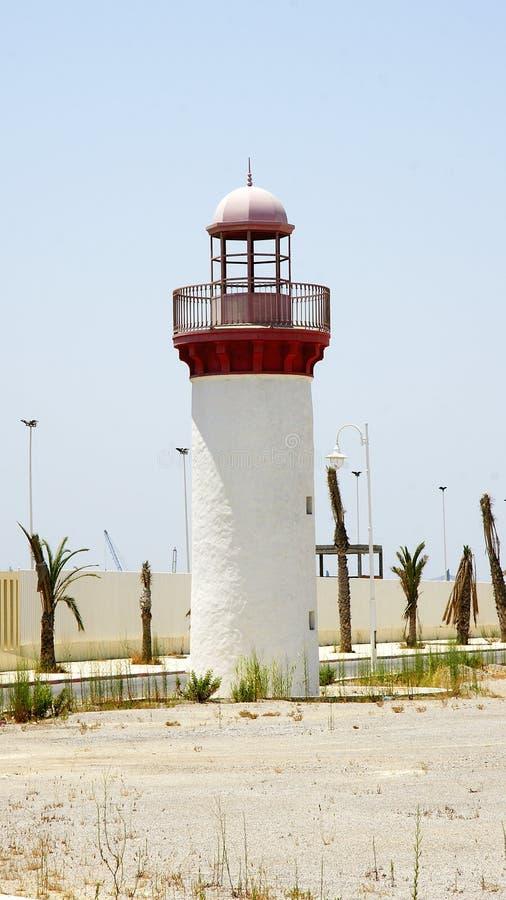 Vuurtoren bij de haven van La Goulette, Tunesië royalty-vrije stock afbeelding