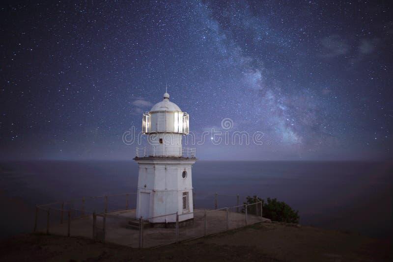 Vuurtoren bij nacht stock afbeeldingen