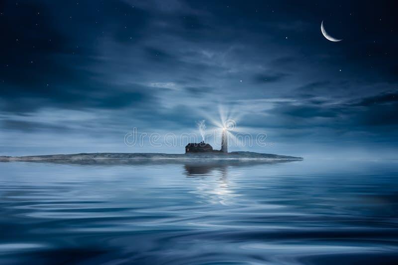 Vuurtoren bij nacht royalty-vrije stock afbeelding