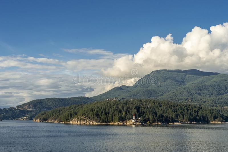 Vuurtoren bij Vuurtorenpark, West-Vancouver, Brits Colombia, Canada royalty-vrije stock foto