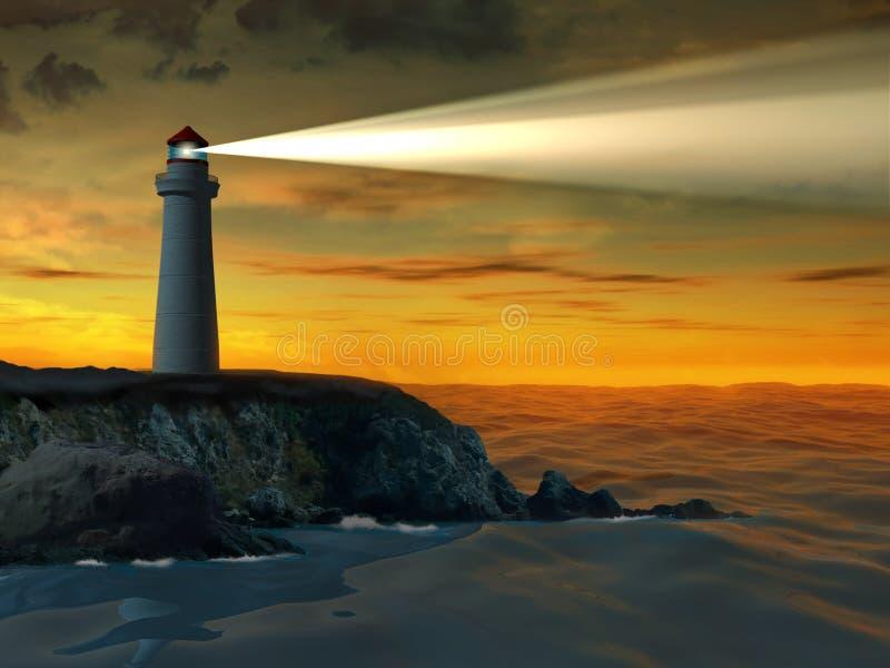 Vuurtoren bij zonsondergang stock illustratie