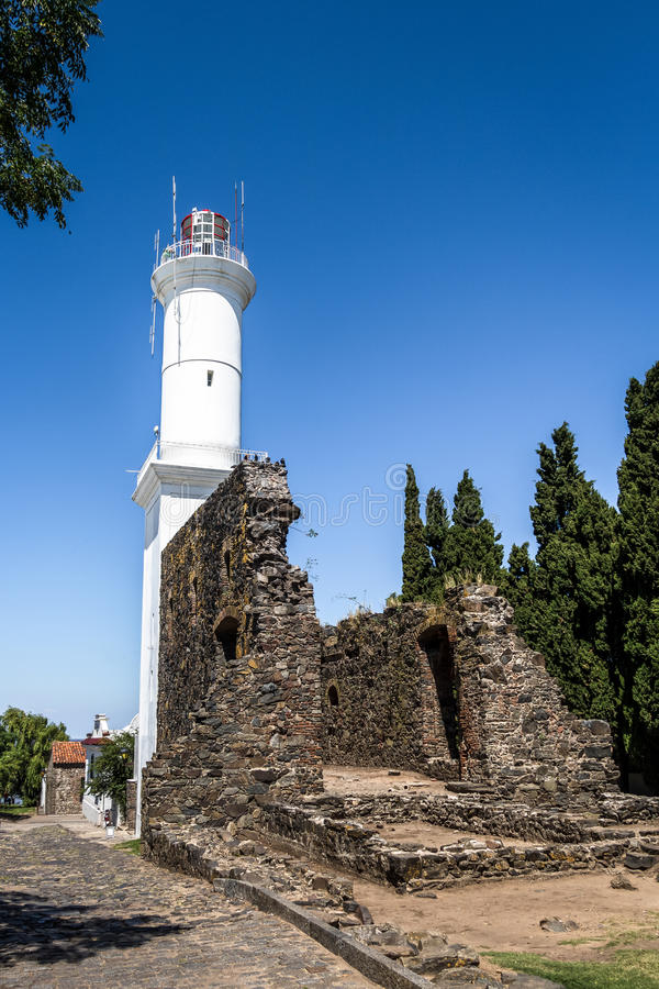 Vuurtoren - Colonia del Sacramento, Uruguay royalty-vrije stock foto