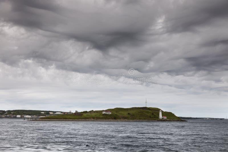 Vuurtoren in de haven van Halifax stock foto's